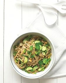 The bracing combination of fresh lime juice and mind adds minimal calories and not a trace of fat, yet tastes out of this world. Scallions, cucumber, and chopped peanuts up the flavor ante while also adding crunch. Soba noodles, made from buckwheat, are nuttier than those made from wheat.