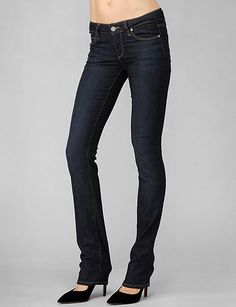 Skinny to tuck into rainboots and dark enough to hide the rained-on parts (practical fashion). Paige Denim - Skyline Straight - Stream