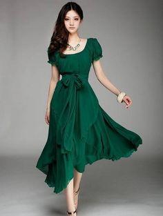 Free Shipping Plus Size 2013 Summer New Arrival Maxi Evening Long Dress Puff Sleeve Irregular Long Chiffon Dress Green