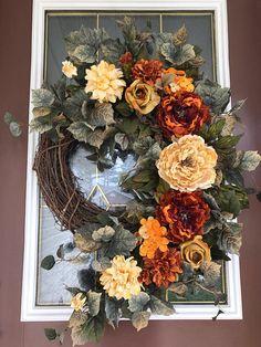 Beautiful wreaths for front door peony wreath elegant wreath grapevine wreath front door wreath this beautiful . beautiful wreaths for front door Thanksgiving Wreaths, Autumn Wreaths, Thanksgiving Decorations, Holiday Wreaths, Wreaths For Front Door, Door Wreaths, Diy Wreath, Grapevine Wreath, Basket Decoration