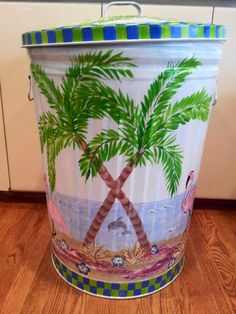 30 Gallon Hand Painted Trash Can krystasinthepointe - ETSY