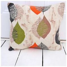 'Lucienne-A-Like'  vintage cushion.  Buy it on Etsy https://www.etsy.com/uk/listing/222837427/vintage-50s-60s-fifties-cushion-cover?ref=shop_home_active_8  or at www.vavavoomvintagecushions.co.uk  Vintage 50s 60s fifties cushion cover retro mid-century Atomic hipster cool funky graphic Lucienne Day skeleton leaves orange designer