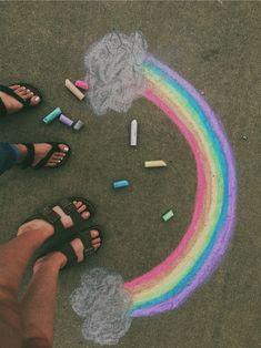 sidewalk chalk rainbows