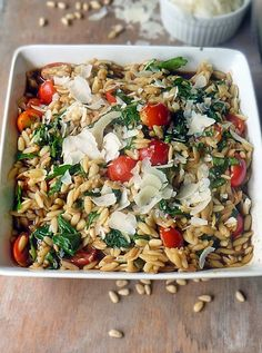 Orzo with Spinach and Tomatoes is a delicious pasta salad you can serve hot or cold. I love this dish because it tastes so good, but it's also very versatile! #PastaSalad #Italian