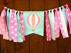 Hot Air Balloon Birthday Banner Highchair High by SeacliffeCottage - New Site Balloon Pinata, Balloon Birthday, Baby Girl Birthday, Balloon Banner, High Chair Banner, Baby Shower, 3rd Birthday Parties, Hot Air Balloon, Vintage Pink