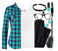 """Black and blue"" by killjoy-sam ❤ liked on Polyvore featuring Vince, CROSS Jeanswear, Lands' End, Ray-Ban, Converse, Ippolita and Givenchy"