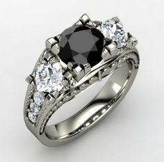 Lavish Ring - Round Black Diamond 14K White Gold Ring with Diamond | Gemvara