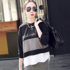 2015 new spring women's chiffon organza stitching sleeved shirt A083A USD$15.47