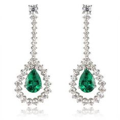 Leo Pizzo Diamond & Emerald 18k White Gold Dangle Earrings