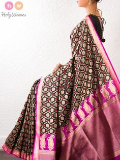 Black Handwoven Katan Silk Cutwork Brocade Saree