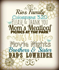 Family Typography personalized