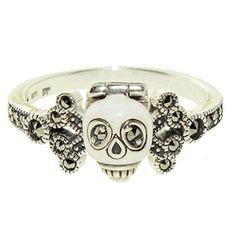 skull engagment rings | ... Sterling Silver Marcasite Skull Ring | ohh shiny-Wedding ring