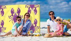 Yellow & Purple Lobster Print 5 Pole / 4 Panel Windbreak