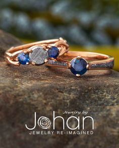All of Jewelry by Johan's wedding ring designs can be customized with different precious metals, gemstones, and inlays. #JewelrybyJohan Wood Engagement Ring, Wedding Ring Designs, Wedding Rings, Dinosaur Bones, Precious Metals, Sapphire, Gemstones, Gold