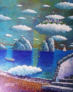 Nuvole a capri cm.50x40  olio e acrilico su tela  Opera originale di Giuseppe Sticchi