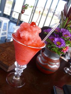 A strawberry daiquiri from Moyo Pier Bar at the end of the pier at uShaka Marine World.one of the best daiquiris to be found in Durban Kwazulu Natal, Daiquiri, South Africa, Strawberry, Bar, Tableware, Food, Dinnerware, Tablewares