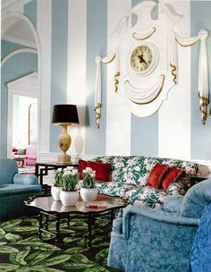 Dorothy Draper is on a top 10 interior designers list and she is inspiration for many young interior designers.To meet her and her designs better, look the gallery of Dorothy Draper interior designs. House Design, Decor, Interior Design, Furniture, Dorothy Draper, Interior, Striped Walls, Hollywood Regency Decor, Home Decor