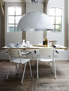 Giant white hanging lamp #dining #room