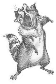 Trapper The Raccoon - The Son of Bigfoot - Charcter Design Cartoon Sketches, Disney Sketches, Animal Sketches, Cartoon Styles, Animal Drawings, Raccoon Illustration, Character Illustration, Character Design Animation, Character Drawing