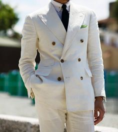 Traje chaqueta cruzada blanco