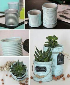 Recycle cans in flower pots - Recycle a tin can in a flowerpot with a mint color patina effect - Diy Garden Decor, Diy Wall Decor, Diy Home Decor, Garden Ideas, Diy Decoration, Garden Art, Room Decor, Diy Recycling, Recycle Cans