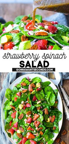 *NEW* This strawberry spinach salad recipe is the next stand-out star of summer salad recipes! Crunchy, bright, sweet, and tangy, this is one of those salad recipes that hits all the flavor notes. Your other Easter recipes will rejoice to be alongside such a fresh dish! #Strawberry #Strawberries #StrawberrySalad #Spinach #SaladRecipes #SummerRecipes #SpringRecipes #SideDishes #Easter Spinach Salad Recipes, Summer Salad Recipes, Spring Recipes, Healthy Salad Recipes, Easter Recipes, Summer Salads, Lunch Recipes, Easy Dinner Recipes, Healthy Eats