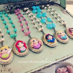 Disney Princess Party = Girls Birthday Favors - Princess Jewelry - Vintage Locket - Polymer clay - Creme de la Gems - Tinkerbell, Ariel, Snow White, Anna, Elsa, Frozen, Cinderella, Belle, Jasmine, Mulan