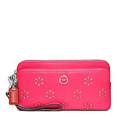 POPPY EYELET LEATHER DOUBLE ZIP WALLET   $158.00   style:48956 Coach