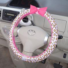 Hello Kitty Compact Steering Wheel Cover Pink Leopard Print Sanrio #HelloKitty