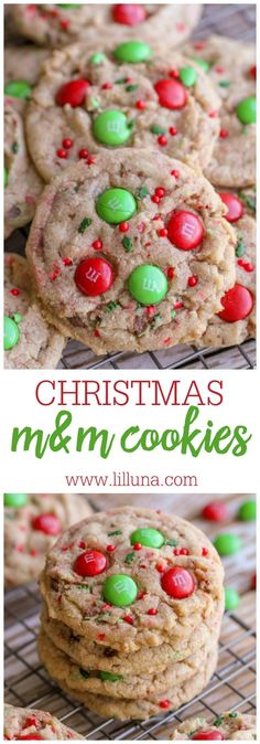 Christmas Cookies, Desserts, These are perfect for neighbor treats, or to make for Santa! Delicious christmas cookies filled with M&Ms and sprinkles! So festive! Best Christmas Cookies, Christmas Snacks, Christmas Cooking, Holiday Cookies, Holiday Treats, Holiday Recipes, Christmas Parties, Christmas Christmas, Christmas Recipes