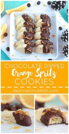 Chocolate Dipped Orange Spritz Cookies | Destination Delish