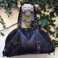 ABS Allen B Schwartz Black Slouchy Leather Tote Bag ~ Travel ~ Diaper Bag EUC  #ABSAllenSchwartz #Satchel