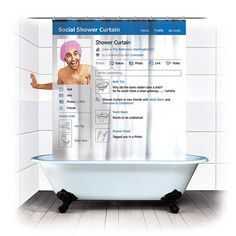 Facebook Shower Curtain            Share graphic        Facebook Shower Curtain image        Check out this Facebook Shower Curtain. I'm sure they'll be a hit initially, but I can't see them being practical for most with all the 'profile pic posing' involved.