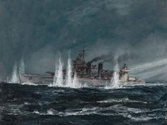 This series of views is from the deck of the cruiser Aoba during the Battle of Savo Island. The Japanese ship has illuminated the American cruiser Quincy. In the first frame, the American cruiser is visible by the glare of searchlights at yards. Guadalcanal Campaign, Imperial Japanese Navy, Modern Warfare, Military Art, Battleship, World War Two, Art Pictures, Wwii, History