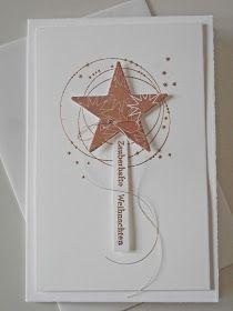 Kartenbox mit vier einfachen Karten, mit Sternen und Kupferglanz aus der Erlebniswelt von Alexandra.                               Liebe Grü...