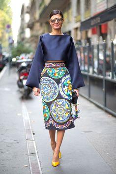 Milan street style - Giovanna Battaglia in Dolce & Gabbana @ Fashion Week S/S 2015