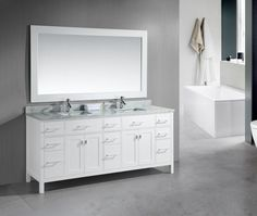 Bathroom Double Sink Bathroom Vanity With A White Drawer And A Large Mirror There Is Also A Bathtub And Towel Rack Fill Your Bathroom With The Double Sink Bathroom Vanity