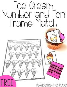 Ice Cream Number and Ten Frame Match. Fun math center or number game for preschool and kindergarten. Perfect summer activity!