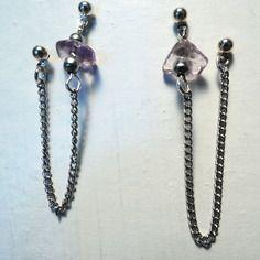 Boucles d'oreilles chaine argentée pour deux trous avec chips de pierre amétrine Cha'perli'popette - jeune créatrice de bijoux artisanaux http://www.alittlemarket.com/boutique/cha_perli_popette-951481.html?pushPromotion=6 https://www.facebook.com/pages/Chaperlipopette/378595345610288