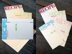 free printable recipe cards - I need to do these and have my recipes all together in a neat little box.