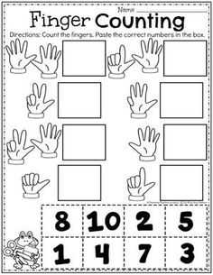 Back to School Themes – Planning Playtime Finger Counting Preschool Math Worksheet Printable Preschool Worksheets, Preschool Learning Activities, Free Preschool, Math Worksheets For Kindergarten, Math Literacy, Pre K Worksheets, Addition Worksheets, Preschool Writing, Spanish Activities