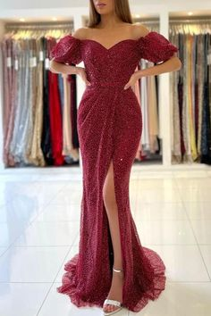 Ballbella.com offer you this burgundy off-the-shoulder sequins prom dress online, available in all colors & sizes, fast delivery worldwide. Sequin Prom Dresses, Prom Dresses Online, Mermaid Prom Dresses, Sequin Dress, Formal Dresses, Dress Prom, Gala Dresses, Dress Online, Mermaid Evening Gown