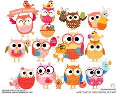 Easter owls Digital clip art for Personal and by Giftseasonstore, $2.00