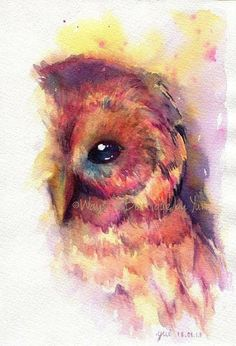 Owl- always love you! The Owl ORIGINAL watercolor painting by WaysideBoutique. If only I could master watercolor like this Bel Art, Lapin Art, Art Watercolor, Love Art, Painting Inspiration, Painting & Drawing, Amazing Art, Awesome, Art Drawings