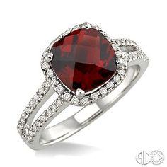 8x8 MM Cushion Cut Garnet and 1/4 Ctw Round cut Diamond Ring in 10K White Gold