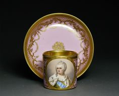 Royal Vienna 19th c. Cup and Saucer. Medallion with a portrait of Catherine the Great.