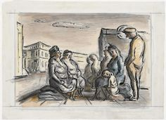 Shelterers Waiting to Enter the Tube  Watercolour: Ardizzone, Edward Jeffrey Irving 1940  image: A group of women and children sit in the street. A man in a cap stands next to them.
