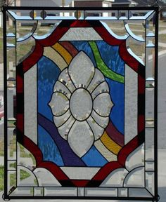 """• Flowing •XXL Stained Glass Panel • Signed Numbered ≈ 29"""" by 23"""" 