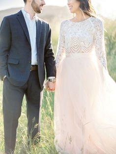 vintage boho lace two piece pink tulle wedding dress / http://www.deerpearlflowers.com/two-piece-wedding-dresses/