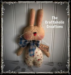 * Primitive RAGGEDY doll ** BUNNY rabbit EASTER spring eggs bowl filler fLowers  #NaivePrimitive